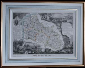 carte 1880 encadré avec lavis et baguette doré